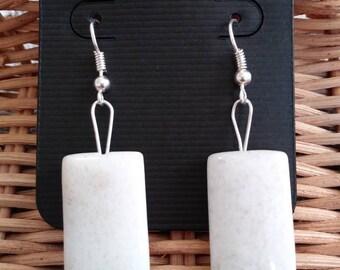 White Jade Natural Stone Earrings (Nickel Free Hooks)