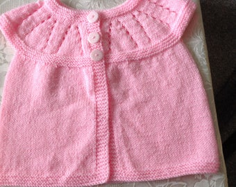 Soft pink baby sleevless jacket