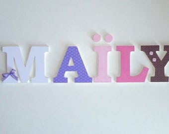 Macdonald - wooden letters - name - MAILY - name - wooden letters