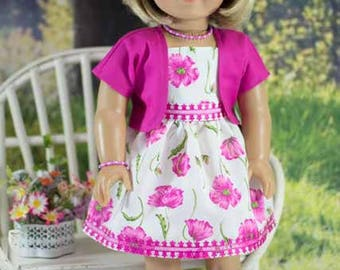 SUNDRESS Dress in Fuchsia Pink and  White with JACKET Jewelry and SANDALS Option for American Girl or 18 inch Doll
