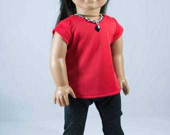 American Girl or 18 Inch Doll LEGGINGS TEE Shirt Top Necklace and SHOES Option