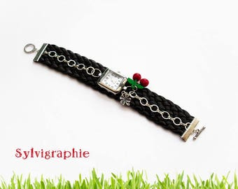 Black leather watch, chain and cherry