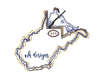 State of West Virginia with Mountaineer and Football embroidery design, Vintage stitch state, West Virginia embroidery file, Bean stitch