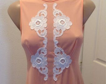 Vintage Donald Brooks for Maidenform nightgown 1970s Peachy Glam