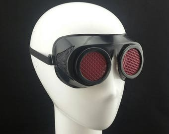 Cyber Rubber Goggles with Dark Red Lenses minion goggle cyberpunk aviator sunglasses cosplay glasses cyber goggles goggles punk goggles
