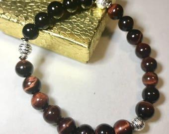 Red Tiger Eye And Black Onyx Bracelet