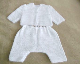 White crochet  pants, diaper covers and sweater set for baby, reborn baby, preemie, newborn