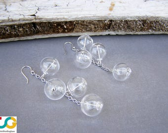 Bubble glass dangle earrings- Blown glass earrings- Glass earring-Ohrringen-orecchini soffiati