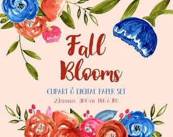 Watercolor Floral Clipart, Fall, Autumn, Flower, Wedding, Clipart, Digital Clipart, Digital Scrapbook,