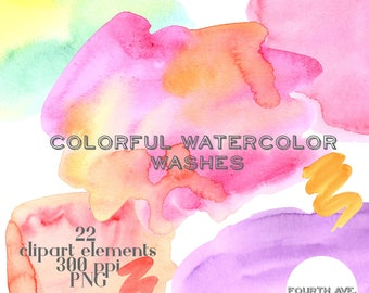 Watercolor Clipart, Watercolor Washes, Colorful, Watercolor Swashes, Watercolor Brushstrokes, DIY Cards, DIY Invitation