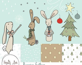 Christmas Bunny Clipart, Hand Drawn Christmas Clipart, Holiday, Cute, Winter, Vector, Digital Paper, Digital Stamps, Bunny Illustrations