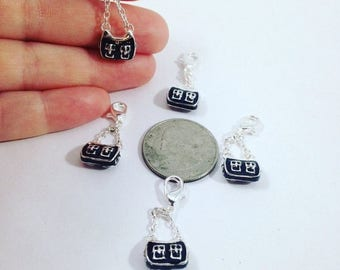 Summer Sale Trendy Black and Silver Purse Charms