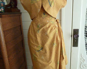 Vintage 40's 50's Cotton Kahala Hawaiian Sarong Dress with Matching Bolero Jacket  Asian Print