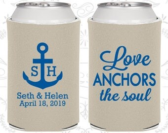 Love Anchor the Soul, Personalized Gift, Anchor Wedding Gift, Nautical Wedding Gift, Nautical Wedding, Wedding Drink Holder (94)