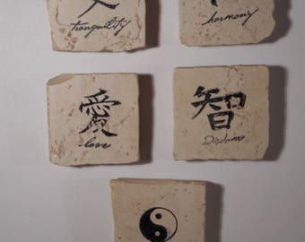 Decorative Magnets-Tumbled Marble Tiles-Oriental Theme
