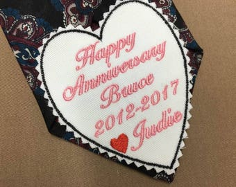 HAPPY ANNIVERSARY GIFT for Him, Tie Patch, Husband Gifts, Iron-On Patch, Sew-On Patch, Anniversary Tie Patch, Anniversary, Gift for Husband