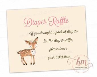 Deer Baby Shower Diaper Raffle Sign, Diaper Raffle, Floral Woodland baby shower, Deer sign DIGITAL FILE HM112