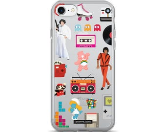 Acceptable in the 80s Transparent iPhone 7/7 Plus Case, Pop Art Dance Electronic Song Illustration, Eighties Fun Music Art, Pop Culture Gift