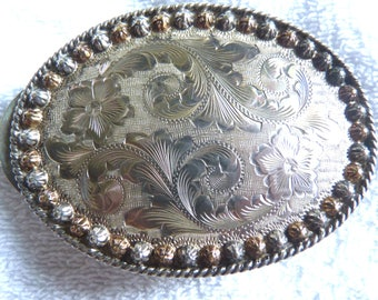 VINTAGE Sterling Silver 14K Gold Western Belt Buckle Fully Hand Engraved from VOGT Silversmiths MARKED as stated.