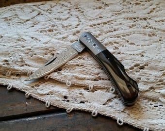 "Damascus Steel Pocket Knife, 4"" Closed, Lockback  Damascus Steel Clip Point Blade, Black Bone Handles w/ Damascus Bolster"