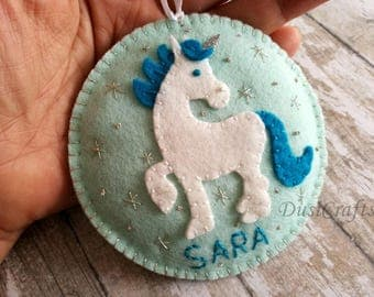 PRE ORDER / Personalized Unicorn ornament, Wool felt Horse ornament with Embroidered Name, Personalised Girls ornament, Birthday gift