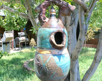 Large Decorative Raku Birdhouse #01, Smokey Blue and Copper Metallic Ceramic Raku Birdhouse, Hanging Pottery Birdhouse
