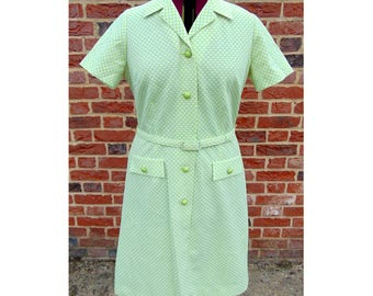Vintage 60s Dress/Scooter Dress/Mod Dress/Lime Green/Sixties Dress/Spotted Dress/Dollybird Dress/1960s Dress/Vintage Dress/UK 16