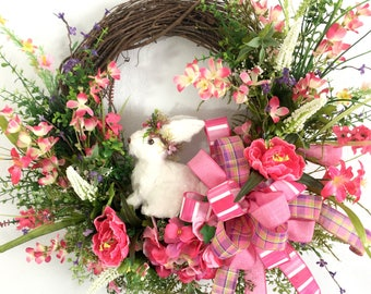 Spring Easter Bunny Wreath Easter Front Porch Wreath Easter Decoration Easter Decor Easter Bunny Wreath for Front Door