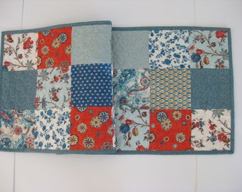 "Quilted Table Runner, Blue Patchwork Table Runner,  14"" X 40"""