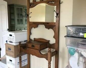 Antique Oak Hall Tree-Hat Rack