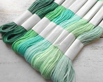 8 skeins of yarn has embroidery cotton 8 meters each shades of green