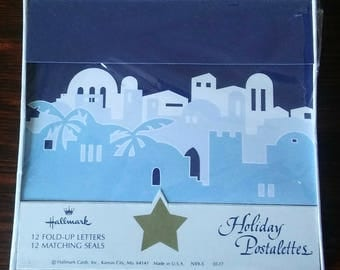 On Sale Vintage and NEW, Hallmark Postalettes, Blue Holiday Postalettes, 12 Fold Up Notes w/12 Matching Stickers, Christmas Note Cards