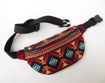 Southwestern Print Fanny Pack - Red, Orange, Teal