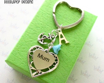 Personalised mum keyring - Birthday gift for mum - Mother's Day gift - Anchor keyring - Sailing gift for Mum - Anchor keychain - Etsy UK