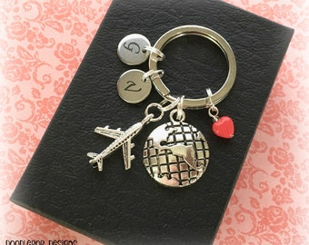 Personalised Valentine's gift - Travel keychain - Valentine gift for her - Long distance relationship - Globe keyring - Travel gift - UK