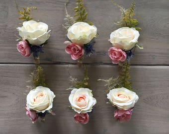 x1 Artificial soft pink rose button holes, Boutonnieres wedding corsages with greenery country garden rustic theme style