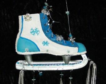 Vtg Ice Skate Blue Sparkle Snowman Wind Chime Decor Winter Jingle Bells Windchime Handmade Upcycle Recycle Frozen