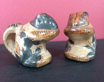 Vintage Set of 2 Mexican Art Pottery Squirrels