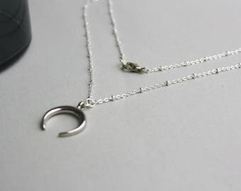 Moon Crescent moon Horn Moon-Silver necklace