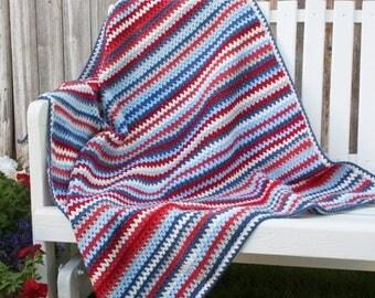 Crochet, V-stitch, American Dream baby/toddler/adult lap crochet blanket