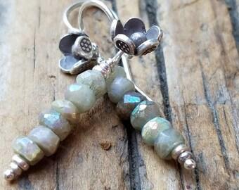Mystic Moss Aquamarine Earrings and Hill Tribe Silver, Karen HIll Tribe Silver Flower Earrings, Pierced Earrings, March Birthstone, Artisan