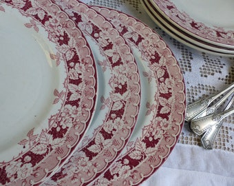 Set of 6 Antique french red transferware plates. Blackberries. French transferware. Jeanne d'Arc living. Gustavian home. french shabby chic