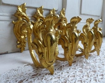 Set of 4 antique french gilded bronze curtain tie backs. Louis XV style motif. French chateau. French curtain hardware. Gold curtain holds