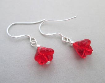 Tiny red flower earrings with swarovski elements, floral earrings