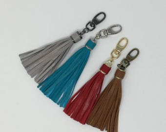 Leather Tassels for Bag, Purse, Key Ring with high quality Tassel Caps on Trigger Clips.  Made in the UK.