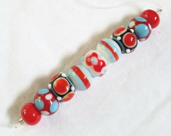 Dotted Lampwork Bead Set Red White And Blue On A Red White And Black Base Lampwork Bead Mix DIY Beads For Jewelry Making Set of 9
