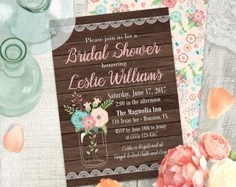 Rustic Bridal Invitation | Mason Jar Bridal Shower Invitation | Country Printable Invitation | Shabby Chic Bridal Shower | WD014NB