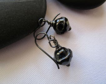 Striking Little Jet Black Czech Glass Earrings Pretty Short and Unique Earrings Opaque Saturn Glass Earrings with Black Niobium French Hooks
