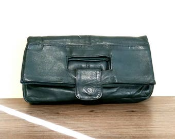 Vintage Leather Clutch, Forest Green Purse, Made in Lebanon, Fold Over Clutch Bag, Boho Fashion
