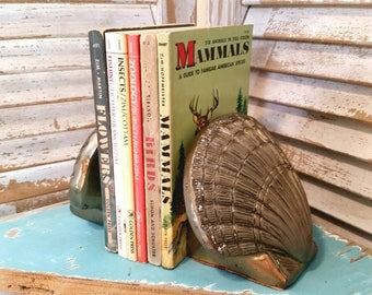 Vintage Cast Metal Shell Bookends, Seashell Beach Decor